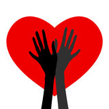 Ζευγάρι των χεριών στο υπόβαθρο καρδιών Στοκ Φωτογραφίες