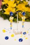 Ζευγάρι των όμορφων ασημένιων σκουλαρικιών με τους πολύτιμους λίθους στο φυσικό υπόβαθρο Στοκ εικόνα με δικαίωμα ελεύθερης χρήσης