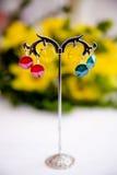 Ζευγάρι των όμορφων ασημένιων σκουλαρικιών με τους πολύτιμους λίθους στο φυσικό υπόβαθρο Στοκ Εικόνα