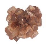 Ζευγαρωμένη aragonite μακροεντολή κρυστάλλου που απομονώνεται Στοκ φωτογραφία με δικαίωμα ελεύθερης χρήσης