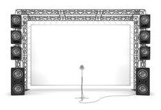 Ζευκτόντα μετάλλων με μια οθόνη, ακουστικά συστήματα και ένα μικρόφωνο Ο εξοπλισμός ενός σταδίου, ένας κινηματογράφος Στοκ Φωτογραφία