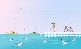 Ζεύγη που αγκαλιάζονται σε μια άσπρη γέφυρα που επεκτείνεται στη θάλασσα Έχετε ένα ποδήλατο εκτός από με seagulls ως υπόβαθρο απεικόνιση αποθεμάτων