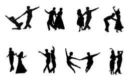 Ζεύγη που χορεύουν στη σκιαγραφία διανυσματική απεικόνιση