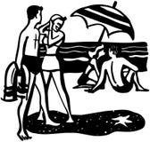 Ζεύγη στην παραλία ελεύθερη απεικόνιση δικαιώματος
