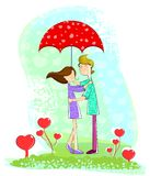 Ζεύγος αγάπης κάτω από την ομπρέλα ελεύθερη απεικόνιση δικαιώματος