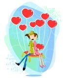 Ζεύγος αγάπης με διαμορφωμένο το καρδιά μπαλόνι διανυσματική απεικόνιση