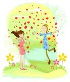 Ζεύγος αγάπης με την πλημμύρα καρδιών ελεύθερη απεικόνιση δικαιώματος