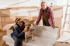 ζεύγος αφροαμερικάνων με το σκυλί και τα κουτιά από χαρτόνι του Λαμπραντόρ Στοκ εικόνα με δικαίωμα ελεύθερης χρήσης