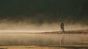 Ζεύγος επαρχίας στα ουκρανικά εθνικά ενδύματα που αγκαλιάζουν tenderly στη δύσκολη ακτή στο ηλιοβασίλεμα στη χρυσή υδρονέφωση φιλμ μικρού μήκους