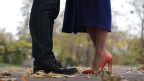 Ζεύγος ερωτευμένο κατά τη ρομαντική ημερομηνία στο πάρκο φθινοπώρου φιλμ μικρού μήκους