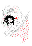 Ζεύγος ερωτευμένο, μια καρδιά για δύο ελεύθερη απεικόνιση δικαιώματος