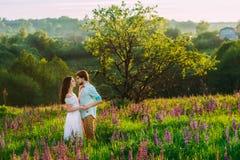 Ζεύγος ερωτευμένο σε ένα όμορφο τοπίο στοκ φωτογραφία με δικαίωμα ελεύθερης χρήσης