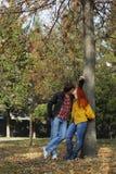 Ζεύγος ερωτευμένο στο πάρκο φθινοπώρου Στοκ εικόνα με δικαίωμα ελεύθερης χρήσης