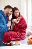 Ζεύγος καφέ πρωινού από κοινού στοκ εικόνες με δικαίωμα ελεύθερης χρήσης