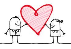 Ζεύγος κινούμενων σχεδίων με τη μεγάλη καρδιά Στοκ φωτογραφία με δικαίωμα ελεύθερης χρήσης