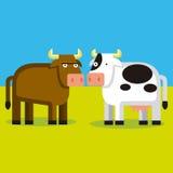 Ζεύγος κινούμενων σχεδίων του Bull και μιας αγελάδας Στοκ Εικόνες