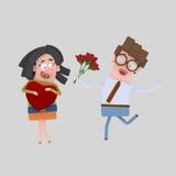 Ζεύγος με μια ανθοδέσμη των τριαντάφυλλων Στοκ φωτογραφία με δικαίωμα ελεύθερης χρήσης
