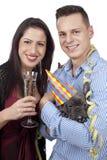 Ζεύγος με τα γυαλιά σκυλιών και λαμπιρίζοντας κρασιού Στοκ φωτογραφίες με δικαίωμα ελεύθερης χρήσης