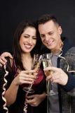 Ζεύγος με τα γυαλιά σκυλιών και λαμπιρίζοντας κρασιού Στοκ εικόνα με δικαίωμα ελεύθερης χρήσης