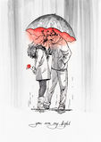 Ζεύγος με την ομπρέλα Γραφική απεικόνιση μελανιού Στοκ Εικόνες
