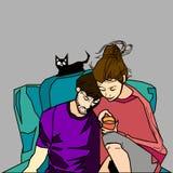 Ζεύγος με τη γάτα Στοκ φωτογραφία με δικαίωμα ελεύθερης χρήσης
