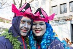 Ζεύγος με το κοστούμι ψαριών σε καρναβάλι σε Duesseldor Στοκ Εικόνες