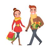 Ζεύγος παραμονής Χριστουγέννων ανδρών και Woman Do Shopping Together απεικόνιση αποθεμάτων