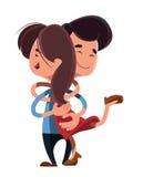 Ζεύγος που αγκαλιάζει το ένα το άλλο χαρακτήρας κινουμένων σχεδίων απεικόνισης διανυσματική απεικόνιση