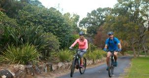 Ζεύγος που αλληλεπιδρά οδηγώντας το ποδήλατο στο δρόμο φιλμ μικρού μήκους
