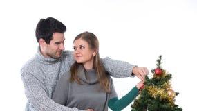 Ζεύγος που διακοσμεί το χριστουγεννιάτικο δέντρο στοκ εικόνες