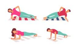 Ζεύγος που κάνει τον πυρήνα άσκησης σανίδων workout από κοινού απεικόνιση αποθεμάτων