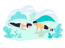 Ζεύγος που κάνει τον πυρήνα άσκησης σανίδων workout μαζί στο πάρκο απεικόνιση αποθεμάτων