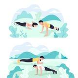 Ζεύγος που κάνει τον πυρήνα άσκησης σανίδων workout μαζί στο πάρκο ελεύθερη απεικόνιση δικαιώματος