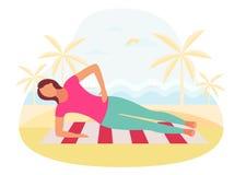 Ζεύγος που κάνει τον πυρήνα άσκησης σανίδων workout μαζί υπαίθρια απεικόνιση αποθεμάτων