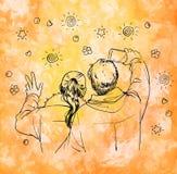 Ζεύγος που κάνει selfie Γραφική απεικόνιση μελανιού στο υπόβαθρο watercolor Στοκ εικόνες με δικαίωμα ελεύθερης χρήσης