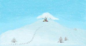 Ζεύγος που κουβεντιάζει κάτω από το δέντρο στο χιονώδες βουνό ελεύθερη απεικόνιση δικαιώματος