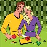 Ζεύγος που μαγειρεύει μαζί το λαϊκό αναδρομικό ύφος comics τέχνης με τον ημίτονο Στοκ φωτογραφία με δικαίωμα ελεύθερης χρήσης