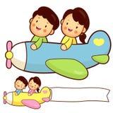 Ζεύγος που οδηγά ένα αεροπλάνο. Σπίτι και σειρά σχεδίου οικογενειακού χαρακτήρα. Στοκ Εικόνα