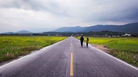 Ζεύγος που περπατά έναν ευθύ δρόμο που οδηγεί στην απόσταση στοκ εικόνες