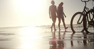 Ζεύγος που περπατά μαζί στην ακτή στην παραλία απόθεμα βίντεο