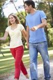Ζεύγος που περπατά στο πάρκο από κοινού Στοκ φωτογραφία με δικαίωμα ελεύθερης χρήσης
