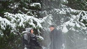 Ζεύγος που ρίχνει το χιόνι επάνω και που χαμογελά απόθεμα βίντεο