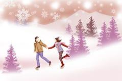 Ζεύγος που τρέχει το χειμερινό Hill - γραφική σύσταση ζωγραφικής ελεύθερη απεικόνιση δικαιώματος
