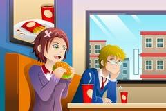 Ζεύγος που τρώει το μεσημεριανό γεύμα από κοινού ελεύθερη απεικόνιση δικαιώματος