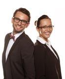 Ζεύγος που φορά τα γυαλιά που απομονώνονται πέρα από ένα άσπρο υπόβαθρο Στοκ φωτογραφίες με δικαίωμα ελεύθερης χρήσης