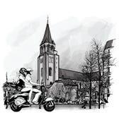 Ζεύγος σε ένα μηχανικό δίκυκλο στο Παρίσι Στοκ φωτογραφίες με δικαίωμα ελεύθερης χρήσης