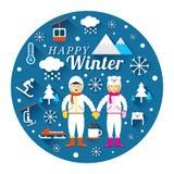 Ζεύγος σε Snowsuit με την ετικέτα χειμερινών εικονιδίων Απεικόνιση αποθεμάτων
