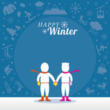 Ζεύγος σε Snowsuit με το υπόβαθρο χειμερινών εικονιδίων απεικόνιση αποθεμάτων