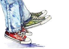 Ζεύγος στα πάνινα παπούτσια ελεύθερη απεικόνιση δικαιώματος