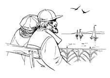 Ζεύγος στην αποβάθρα Γραφική απεικόνιση μελανιού Στοκ Φωτογραφίες
